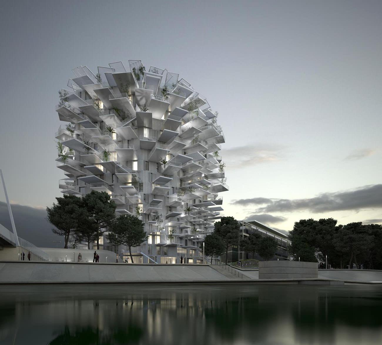 l 39 arbre blanc immeuble design montpellier architecte sou fujimoto. Black Bedroom Furniture Sets. Home Design Ideas
