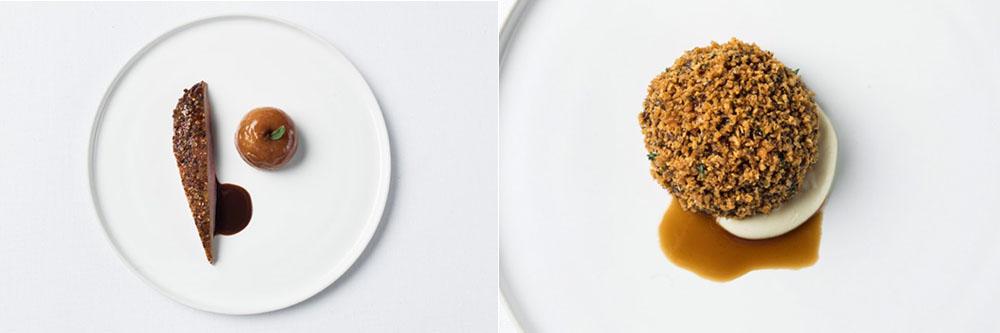 Gauche : Canard et poire / Droite : Le céleri racine de Daniel Humm.