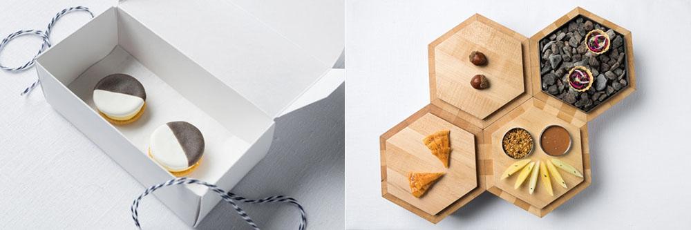 Mises en bouche : Châtaignes, tarte patates douces, tarte au gibier, caramel au foie gras