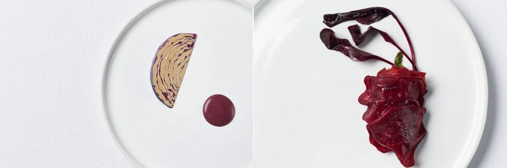 Gauche : Foie gras et chou rouge / Droite : Foie gras et betterave.