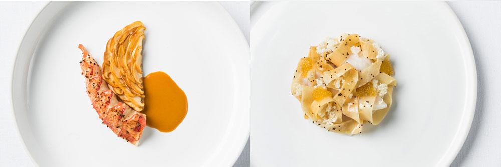 Gauche : Homard, pommes de terre et chanterelles / Droite : Panais, oeufs de poissons.