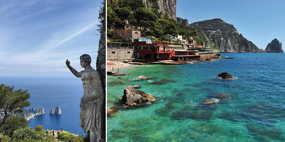 A gauche, statue de l'empereur Auguste au Monte Solaro / A droite, plages de Marina Piccoli.