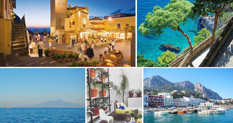 En HAUT : Place Umberto I, Via Krupp / En bas : Vue du Vésuve, Capri Suite, Marina Grande.