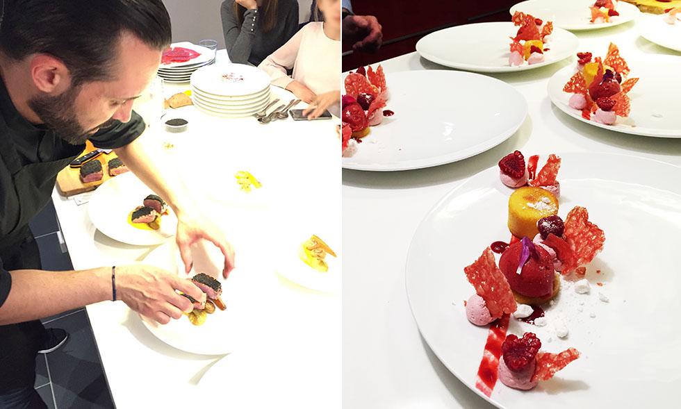 Le chef en plein dressage du plat / Le dessert tout framboise