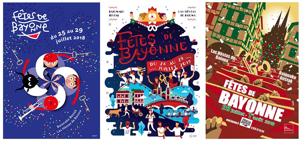Quelques affiches des précédentes fêtes de Bayonne