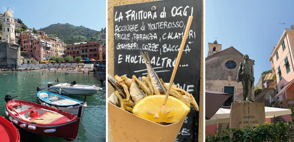 A gauche, Vernazza vu des rocher - Au centre, les fameux cornets de poissons frits - A droite, Corniglia