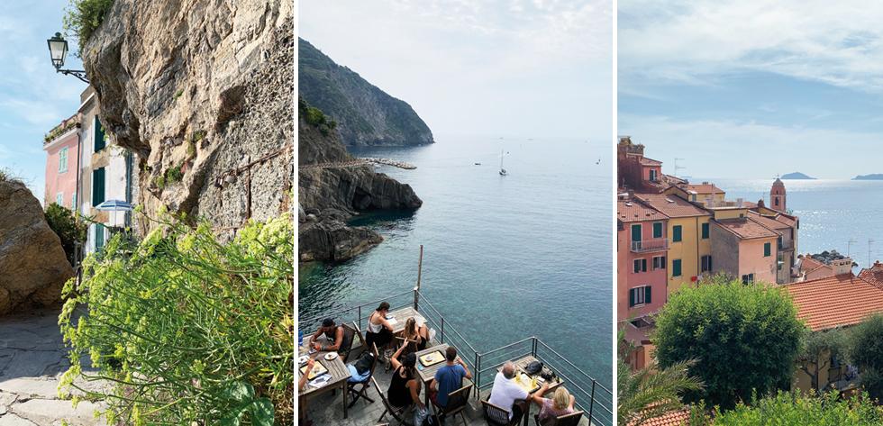 A gauche et à droite, le beau village de Tellaro - Au centre, une terrasse de bar à Riomaggiore.